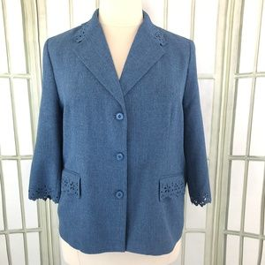 Alfred Dunner Career Blazer  Cutout Trim Not Lined